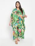 Floral Boho Long Kaftan Dress - Plus - 1