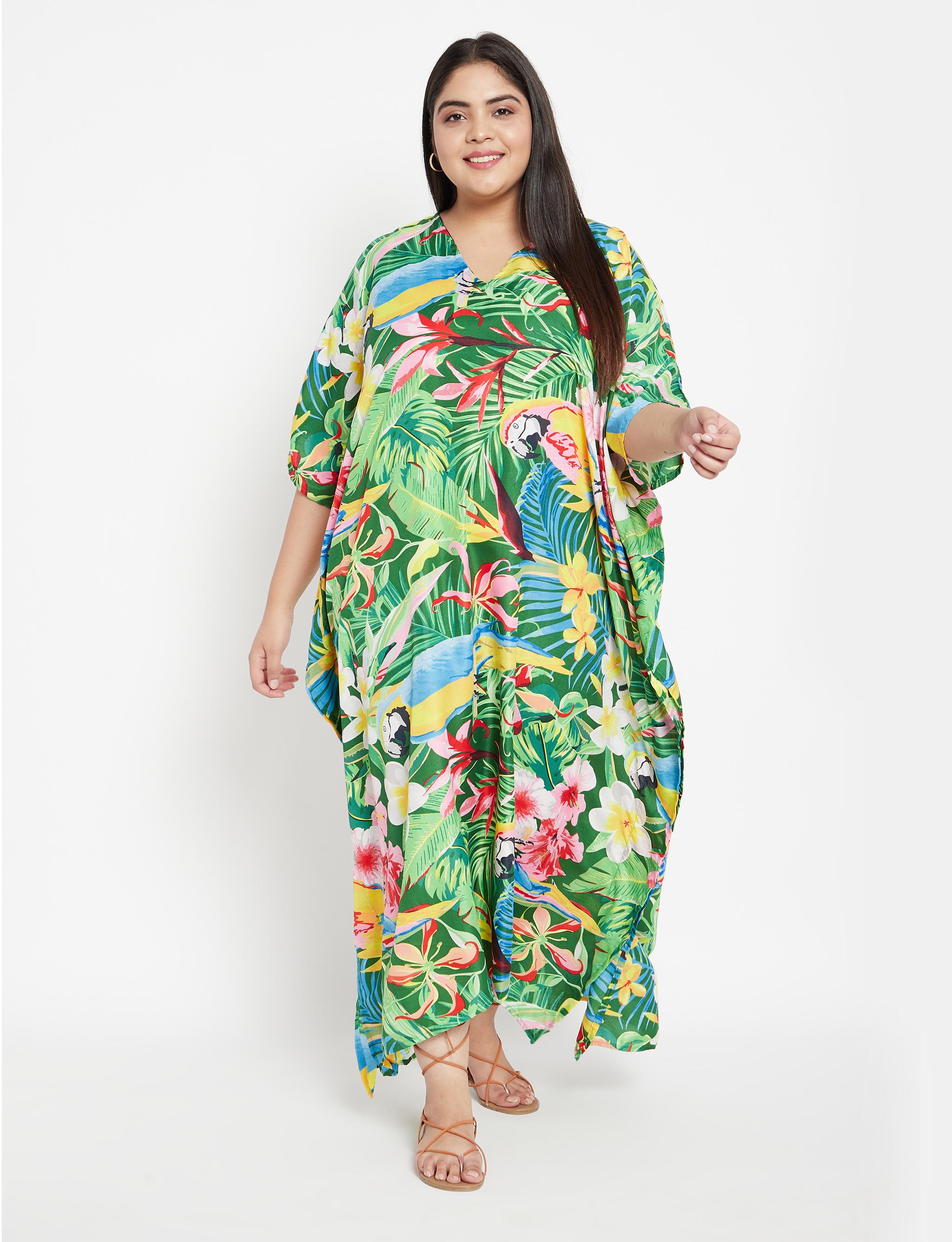 Floral Boho Long Kaftan Dress - Plus