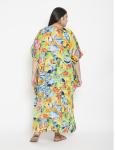 Fish Pattern Green Beachwear Loose Kaftan Dress - Plus - 2