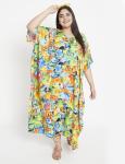 Fish Pattern Green Beachwear Loose Kaftan Dress - Plus - 6