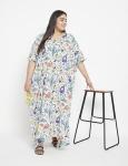 Floral Pattern Long Luxury Kaftan Dress - Plus - 4