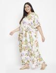 Floral Pattern White Kaftan Dress - Plus - 3