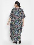 Leaf Pattern Loose Kaftan Dress - Plus - 2