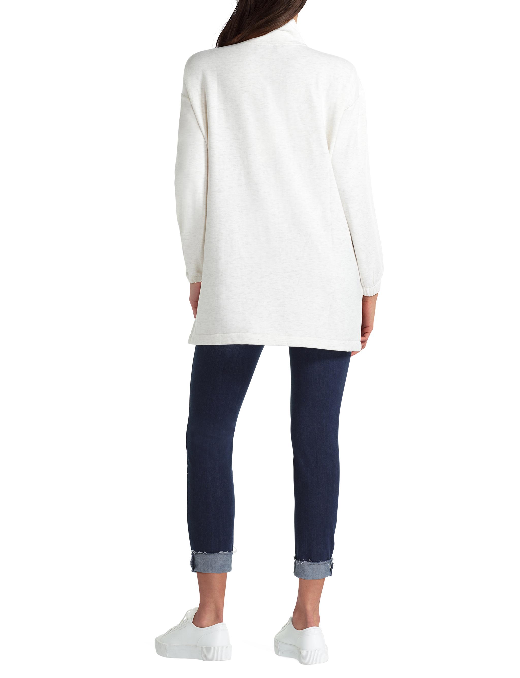 H Halston Studio Long Sleeve Mock Neck Half Zip Pullover