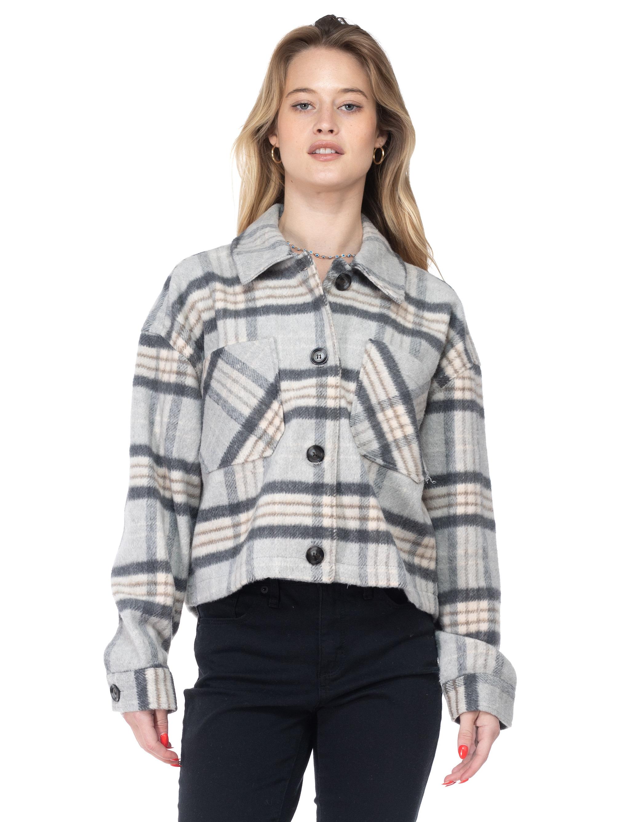 26 International Wool Like Plaid Crop Shacket