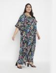 Leaf Pattern Loose Kaftan Dress - Plus - 4