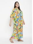 Fish Pattern Green Beachwear Loose Kaftan Dress - Plus - 4