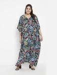 Leaf Pattern Loose Kaftan Dress - Plus - 1