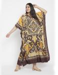 Polyester Long Paisley Kaftan Dress - Plus - 6