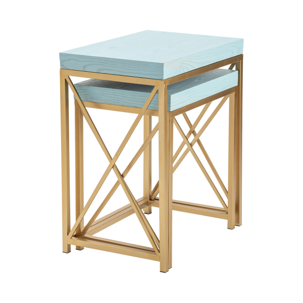 Leland Set of Two Blue Nesting Accent Tables