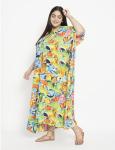 Fish Pattern Green Beachwear Loose Kaftan Dress - Plus - 5