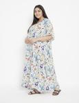 Floral Pattern Long Luxury Kaftan Dress - Plus - 6