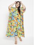Fish Pattern Green Beachwear Loose Kaftan Dress - Plus - 3