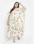 Floral Pattern White Kaftan Dress - Plus - 6