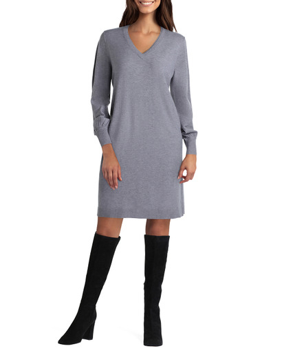 Isaac Mizrahi Long Sleeves V Neck Knitted Dress