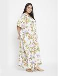 Floral Pattern White Kaftan Dress - Plus - 4