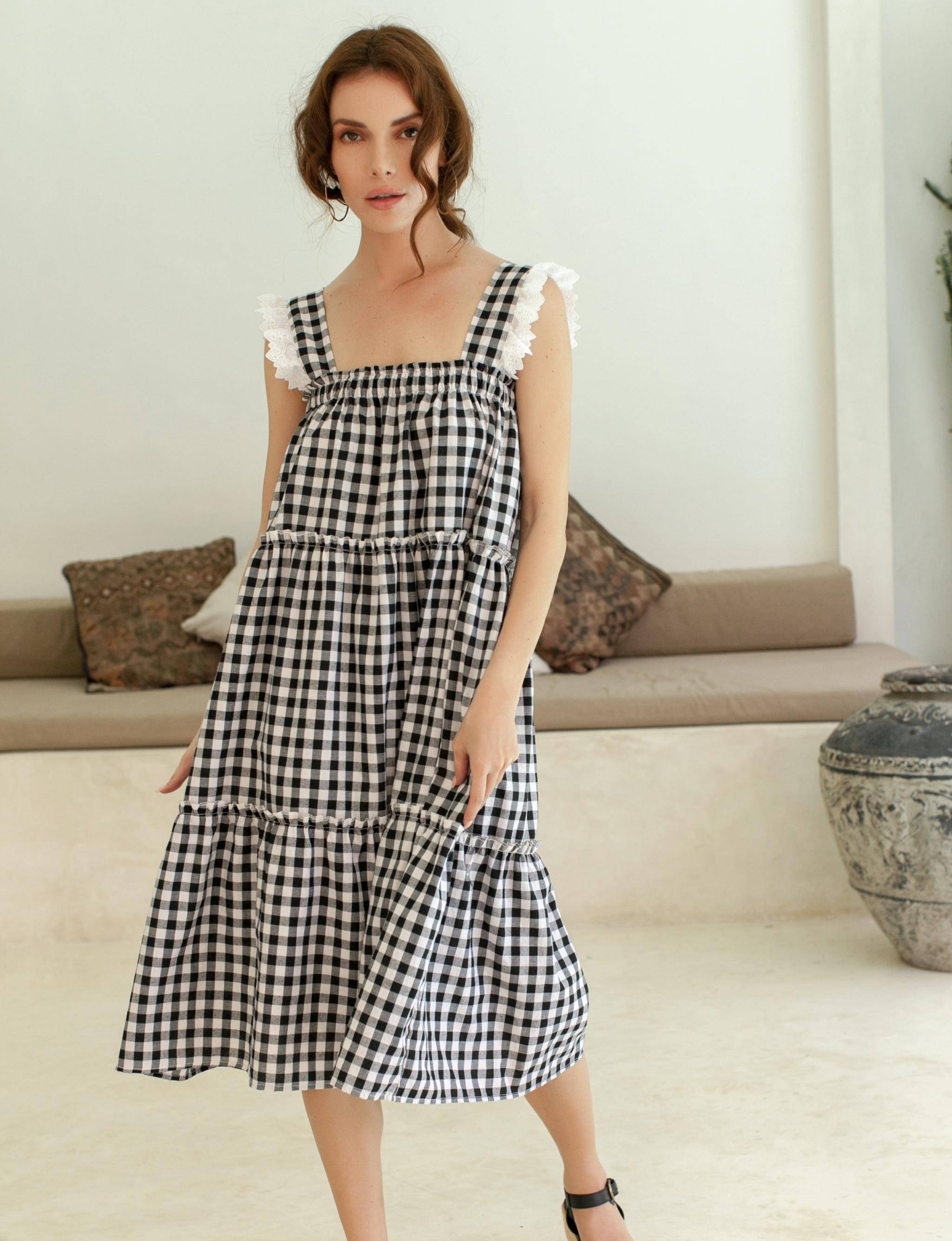 Meringue Summer Gingham Black Dress