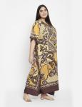 Polyester Long Paisley Kaftan Dress - Plus - 4