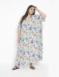 Floral Pattern Long Luxury Kaftan Dress - Plus - 3