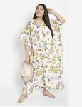 Floral Pattern White Kaftan Dress - Plus - 5