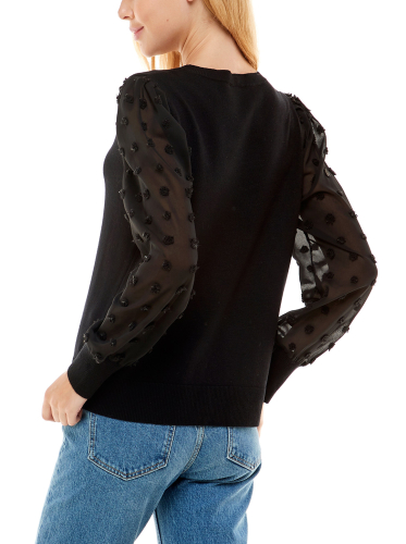 Madison & Hudson Woven Sleeve Pullover Sweater - Back