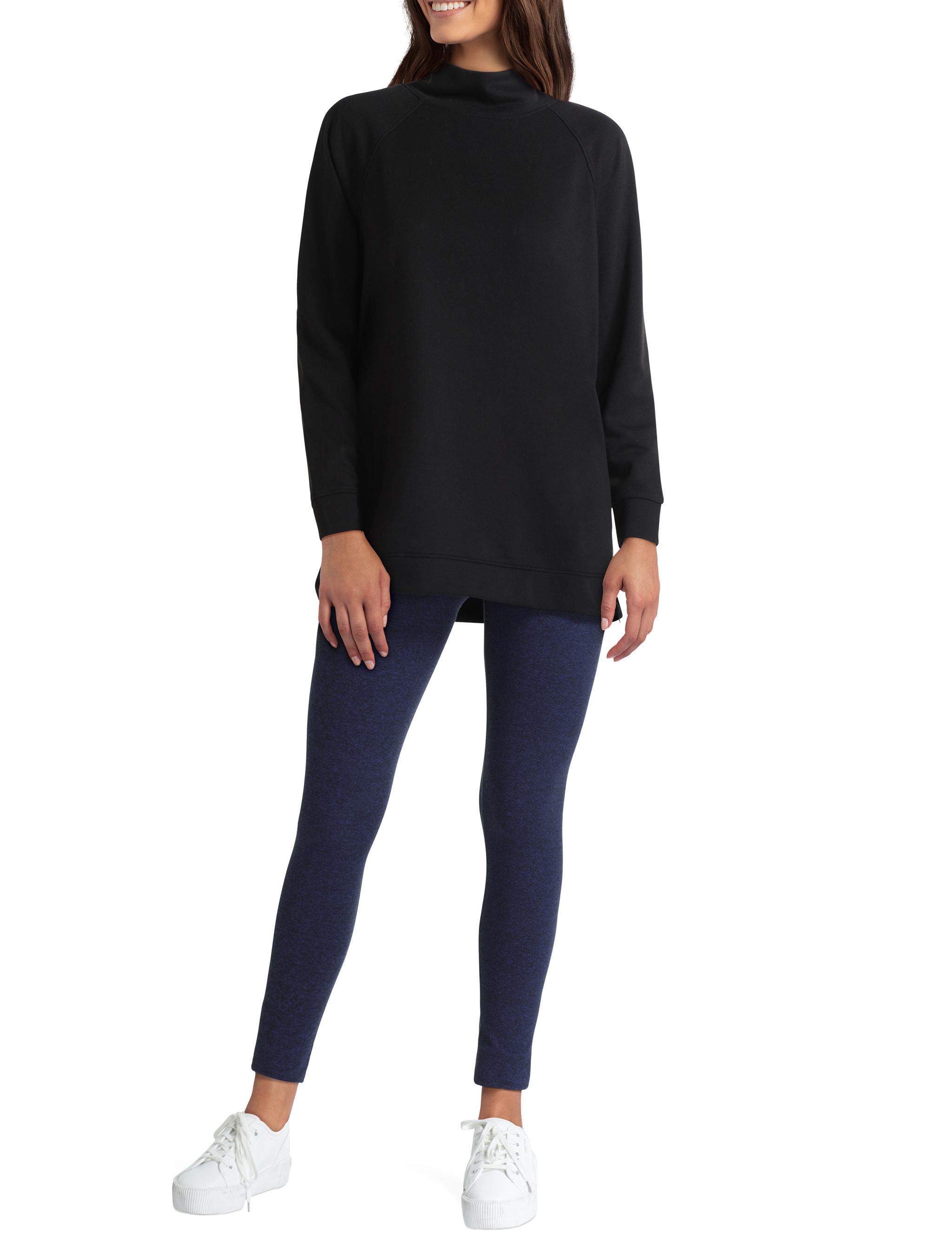 H Halston Studio Long Sleeve Mock Neck Raglan Pullover