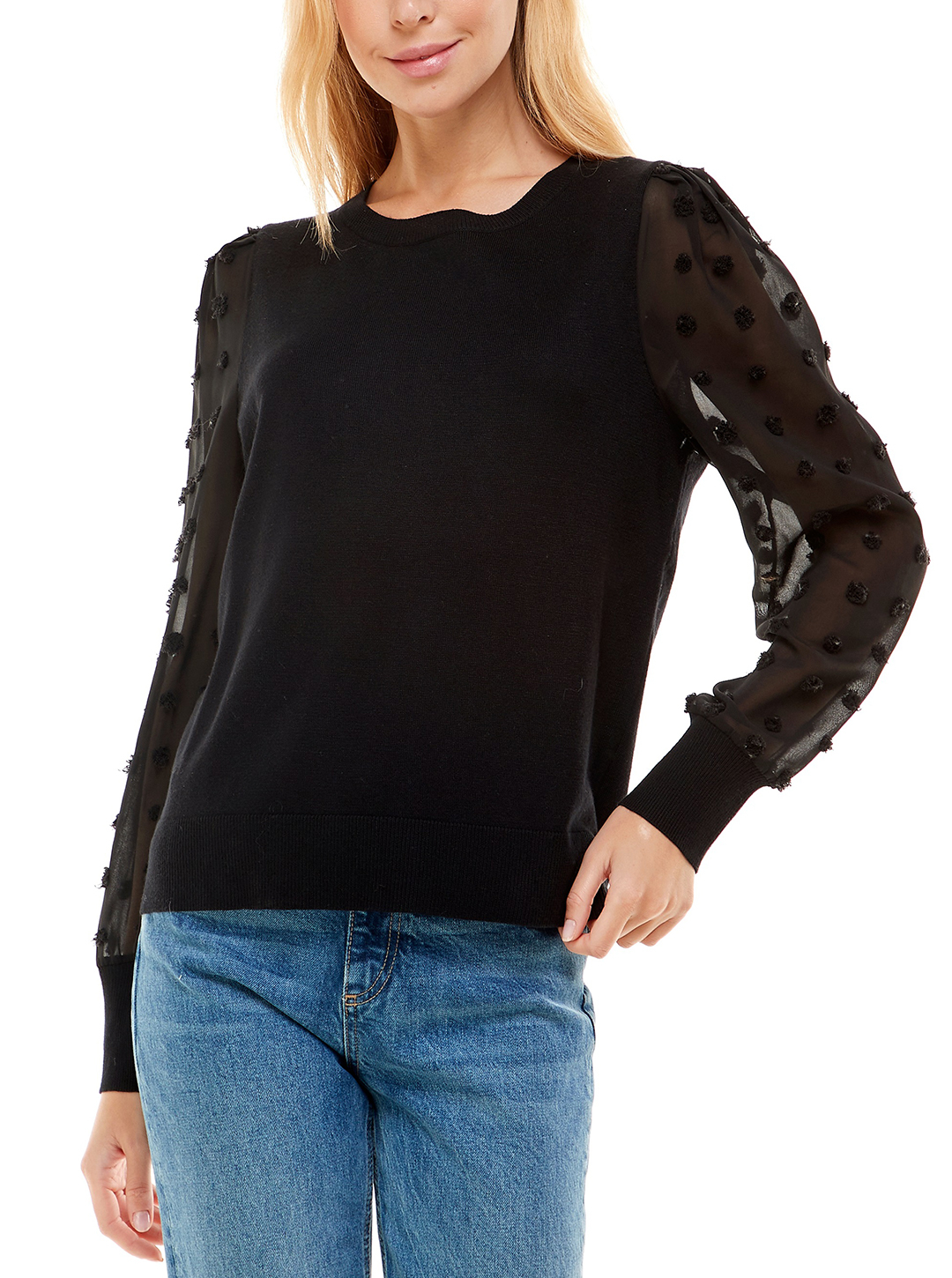 Madison & Hudson Woven Sleeve Pullover Sweater