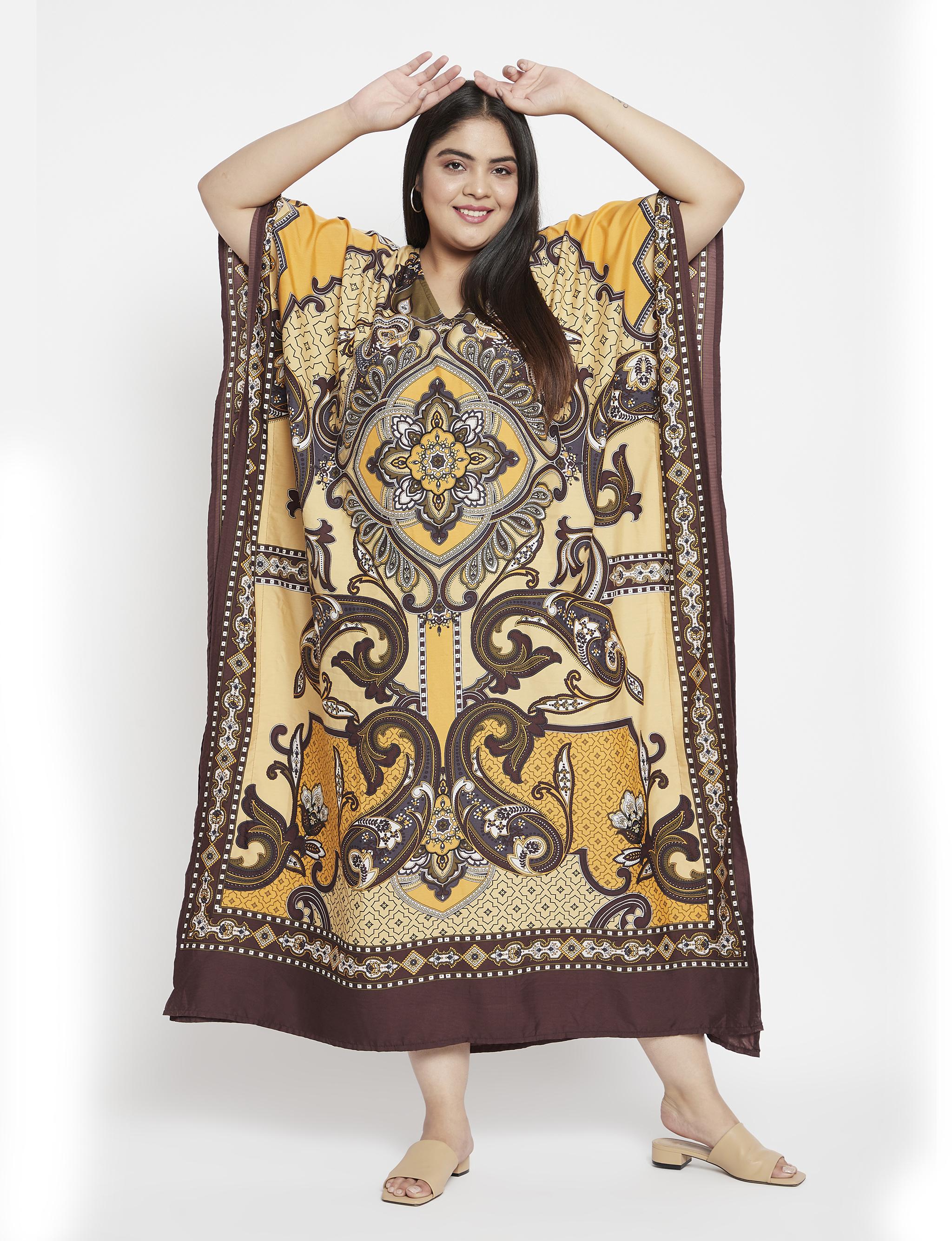 Polyester Long Paisley Kaftan Dress - Plus