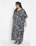 Leaf Pattern Loose Kaftan Dress - Plus - 5