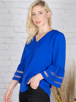 Wonder Blossom Top With Mesh Insert At Sleeve - Back