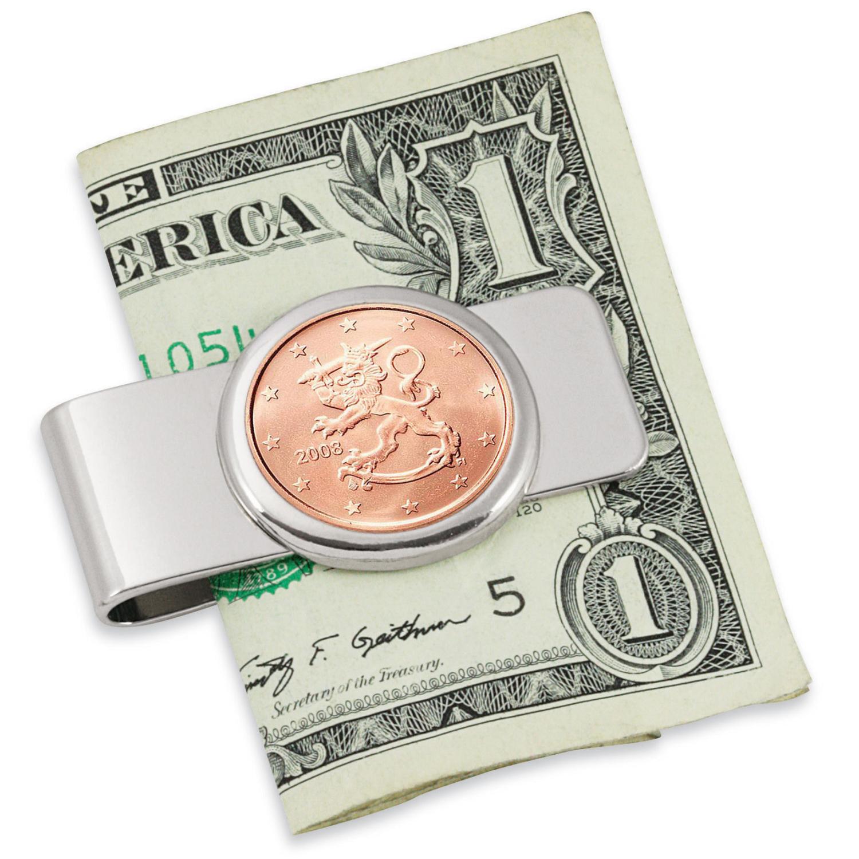 Finland Lion Five Cent Euro Coin Silvertone Coin Money Clip