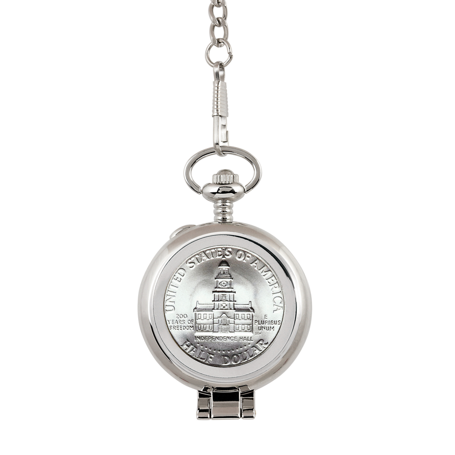 Jfk Bicentennial Half Dollar Coin Pocket Watch With Skeleton Movement - Black Dial With Gold Roman Numerals
