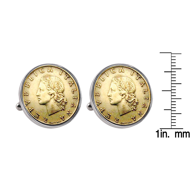 Italian Republic Coin Silvertone Bezel Cuff Links