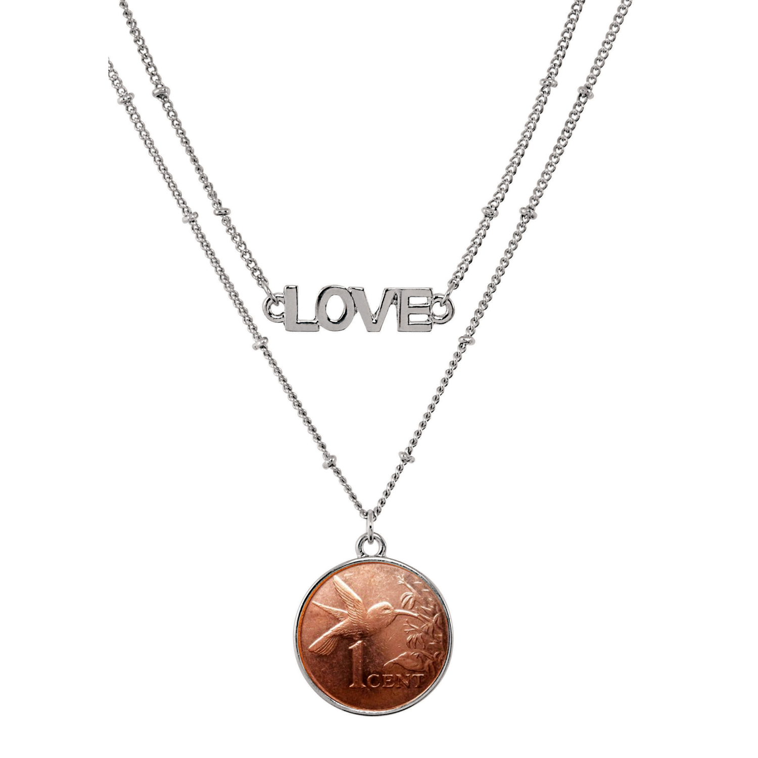 Hummingbird Coin Double Strand Love Necklace