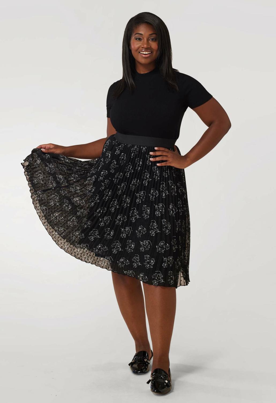 Maree Pour Toi Pleated Chiffon Print Midi Skirt