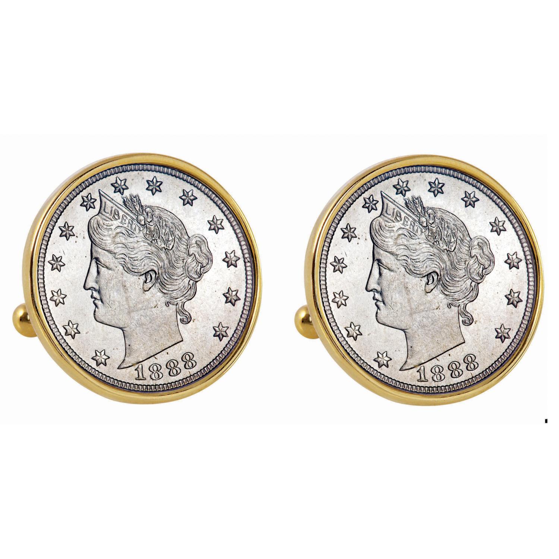 1800'S Liberty Nickel Gold Tone Bezel Coin Cufflinks
