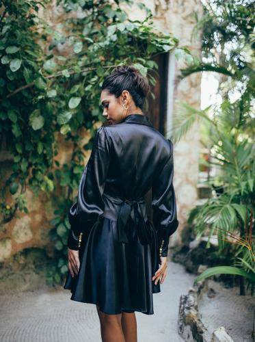 SukiSo Elsa Wrap Dress in Black - Back