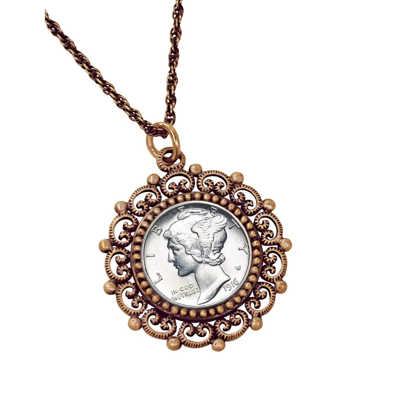 Silver Mercury Dime Coppertone Beaded Pendant