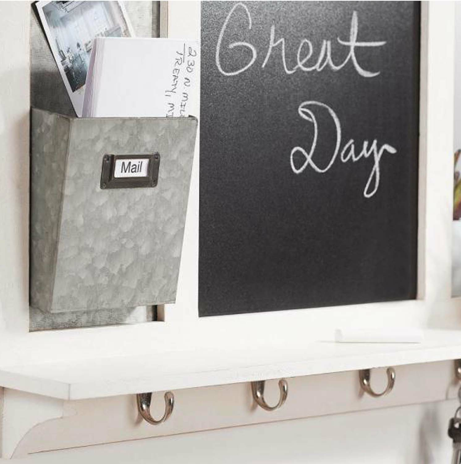 White Multi-Functional Decorative Wall Organizer With Hooks