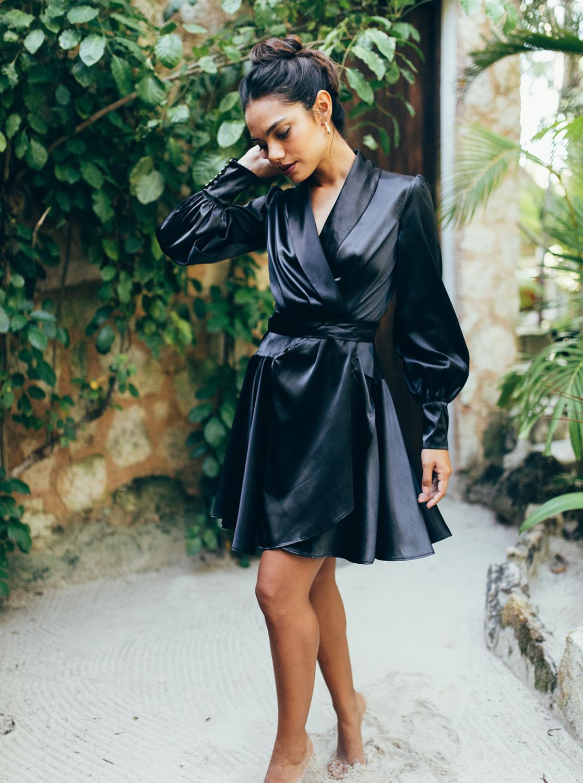 SukiSo Elsa Wrap Dress in Black