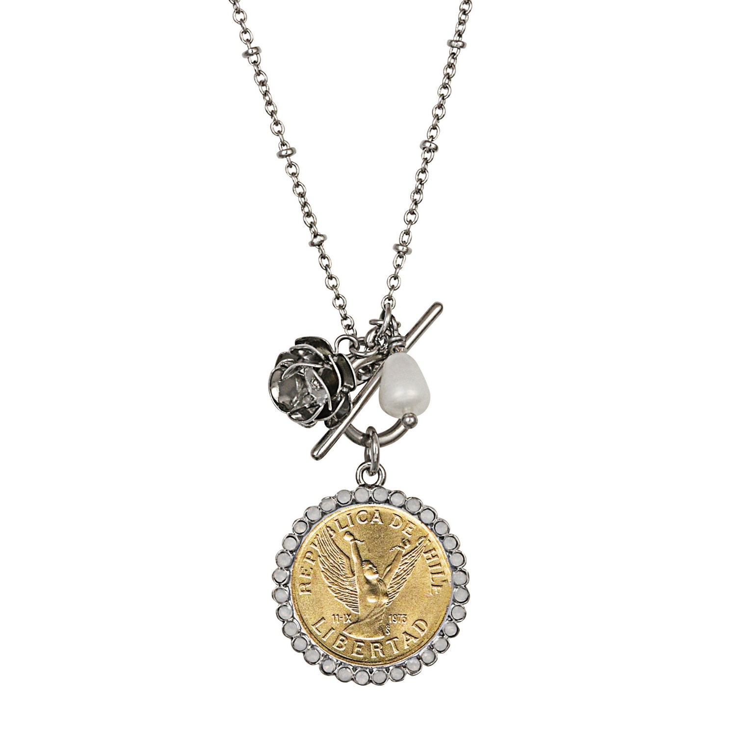 Chile Angel Coin Rose Toggle Pendant