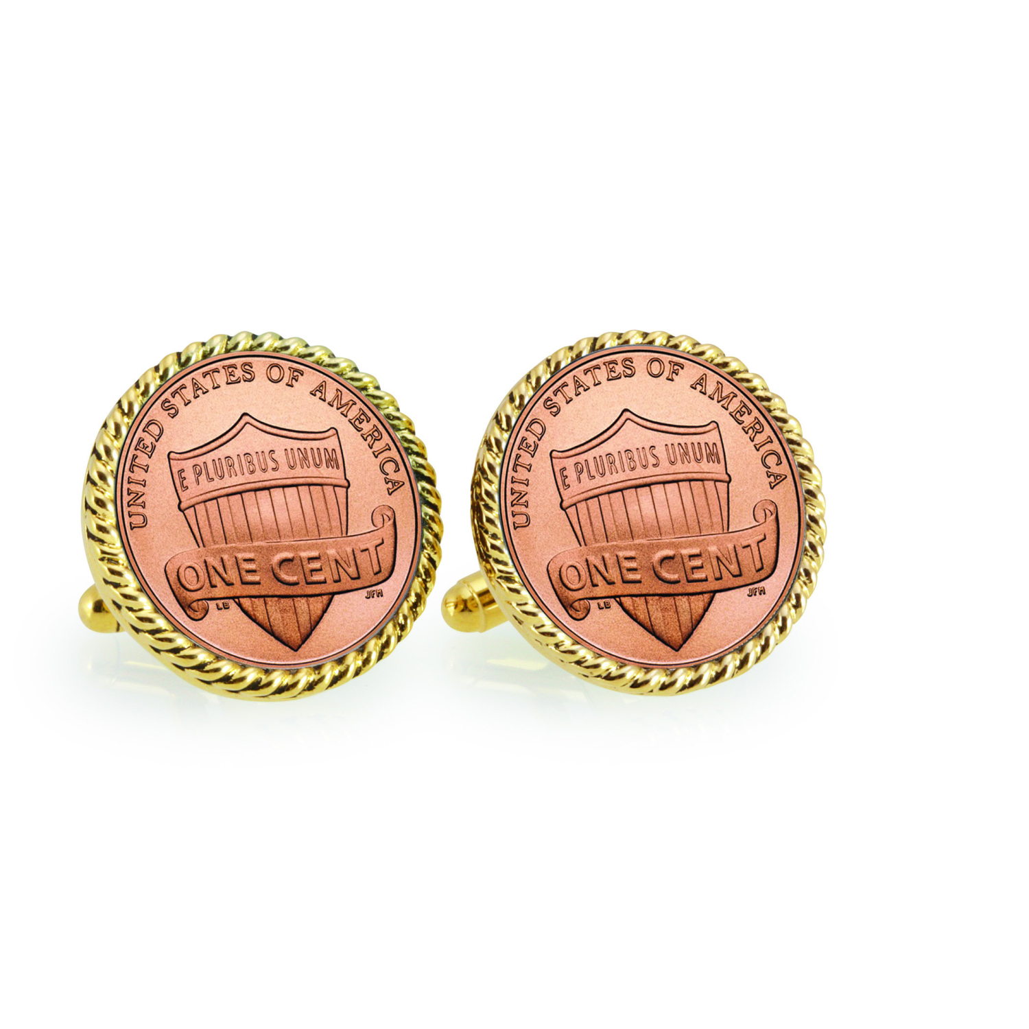 Lincoln Union Shield Penny Goldtone Rope Bezel Coin Cuff Links