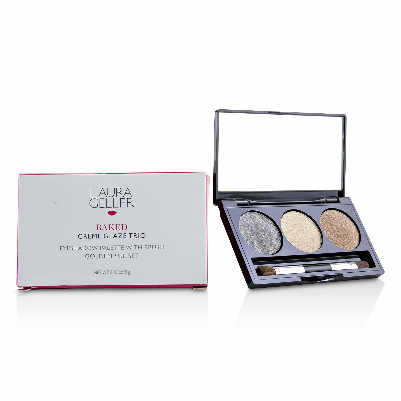 Laura Geller Women's # Sandy Lagoon Baked Cream Glaze Trio Eyshadow Palette With Brush Eye Gloss
