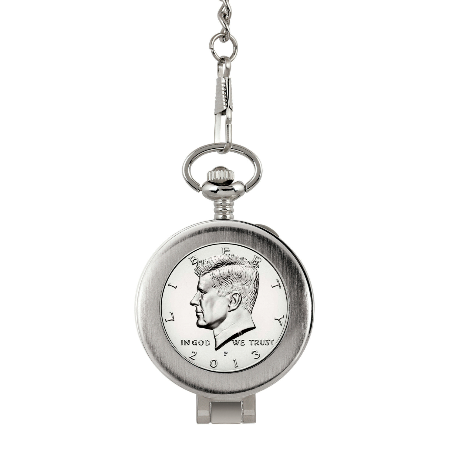 Proof Jfk Half Dollar Coin Pocket Watch With Skeleton Movement - Magnifying Glass - Black Dial With Gold Roman Numerals