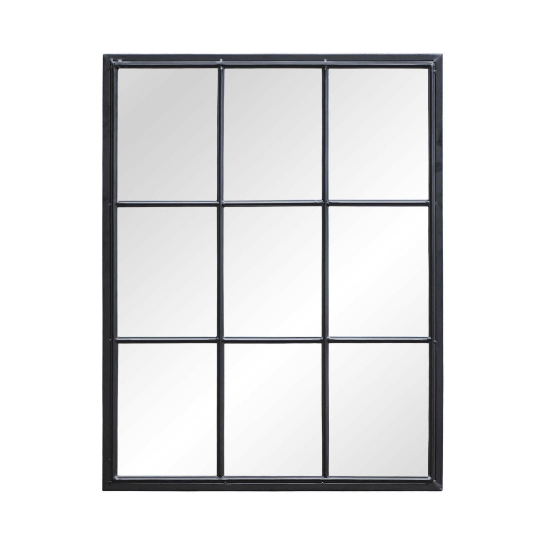 Rectangular Window Design Metal Wall Mirror, Black Metal Framed 9 Windowpane Grid Mirror For Entry, Living Room,Bathroom, Bedroom, Hang Horizontal Or Vertical, 28 X 36 Inches