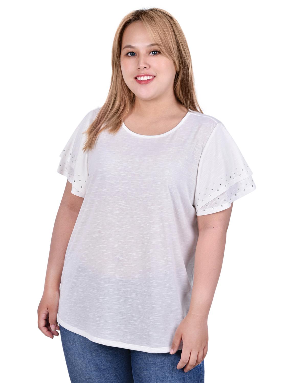 Short Sleeve Double Hem Scoop Neck Pullover