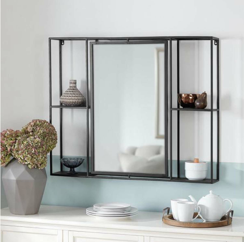 Black Decorative Mirror With Shelves
