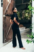 Sukiso Women's Black Kira Denim Jumpsuit - Plus - Back