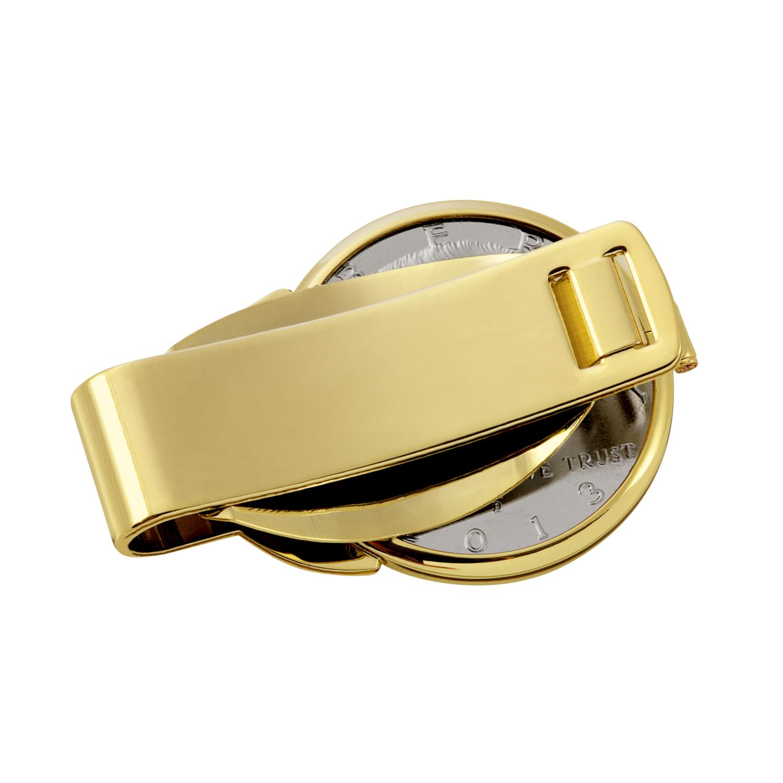 Gold-Layered Silver Walking Liberty Half Dollar Gold Tone Coin Money Clip