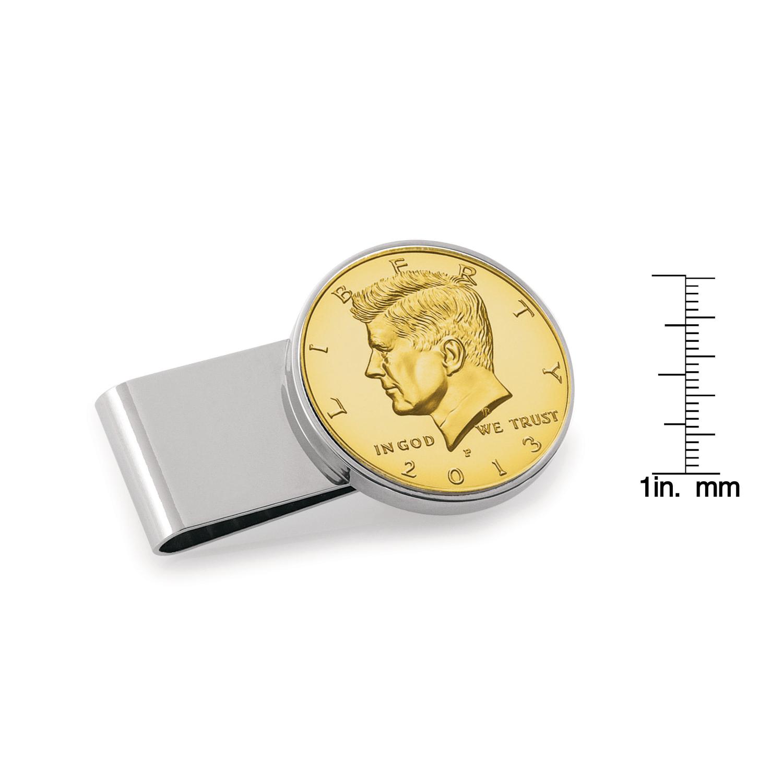 Gold-Layered Jfk Half Dollar Stainless Steel Silvertone Coin Money Clip